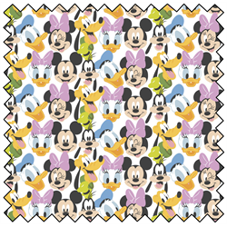 "Mickey Mouse Here Comes the Fun - WHITE - 44"" x 13.7 M"