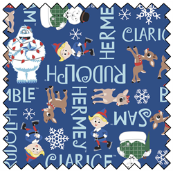 """Rudolph Character Names - NAVY - 44"""" x 13.7 M"""