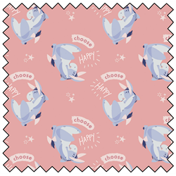 "Eeyore Choose Happy - PINK - 44"" x 13.7 M"