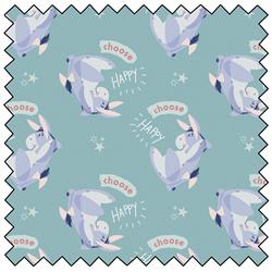 """Eeyore Choose Happy - BLUE - 44"""" x 13.7 M"""