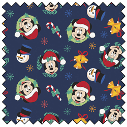 "Mickey Mouse Joy to the World - NAVY - 44"" x 13.7 M"