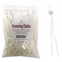 Drawstring Mask Elastics - 50 PCS - WHT