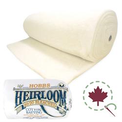 "Heirloom Premium 80/20  Batting - BLEACHED - 108"" x 30 YDS"