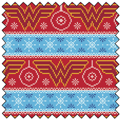"Wonder Woman Fair Isle - AQUA - 44"" x 13.7 M"