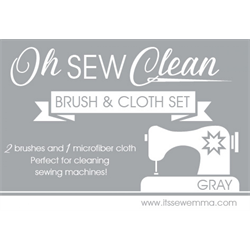 Oh Sew Clean Brush and Cloth Set - GREY